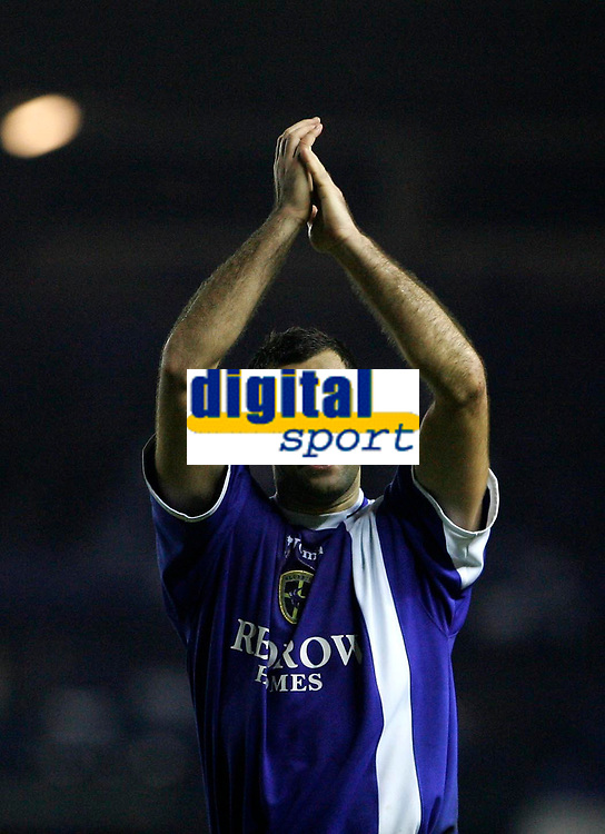 Photo: Andrew Unwin.<br />Leeds United v Cardiff City. Coca Cola Championship.<br />10/12/2005.<br />Cardiff's Chris Barker celebrates at the end of the game.