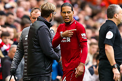 Virgil van Dijk of Liverpool speaks to Liverpool manager Jurgen Klopp after picking up an injury - Mandatory by-line: Robbie Stephenson/JMP - 22/09/2018 - FOOTBALL - Anfield - Liverpool, England - Liverpool v Southampton - Premier League