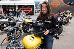 Johnathon Valderrama of Orlando, FL about to head out on a test ride of a new 2017 Harley-Davidson from the HD Speedway display during Daytona Beach Bike Week. FL. USA. Sunday March 12, 2017. Photography ©2017 Michael Lichter.
