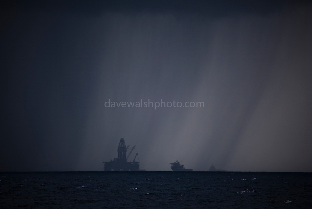 "Transocean Development Driller rig in squall at Deepwater Horizon disaster Site. Photograph made on board the Greenpeace ship Arctic Sunrise, September 2010. This mage can be licensed via Millennium Images. Contact me for more details, or email mail@milim.com For prints, contact me, or click ""add to cart"" to some standard print options."