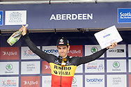 Wout van Aert Stage 8 winner during the presentation after Stage 8 of the AJ Bell Tour of Britain 2021 between Stonehaven to Aberdeen, , Scotland on 12 September 2021.