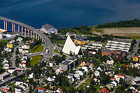 Norway, Tromsø. A cable car goes up to mount Storsteinen, 421 metres above sea level, with a panoramic view over Tromsø. The Arctic Cathedral.