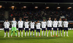 England U21 team line up before the international friendly match at the Blue Water Arena, Esbjerg. PRESS ASSOCIATION Photo. Picture date: Tuesday November 20, 2018. See PA story SOCCER Denmark U21. Photo credit should read: Simon Cooper/PA Wire. RESTRICTIONS: Use subject to FA restrictions. Editorial use only. Commercial use only with prior written consent of the FA. No editing except cropping.