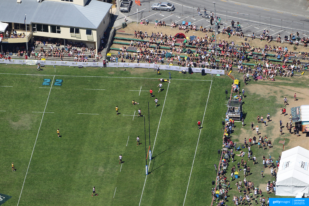 A view from the Skyline Gondola during the Pub Charity Rugby Sevens 2012 New Zealand tournament at the Queenstown Recreation Ground, Queenstown, Otago, New Zealand. 8th January 2012. Photo Tim Clayton
