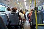 View of interior of public transport bus, Dubrovnik, Croatia