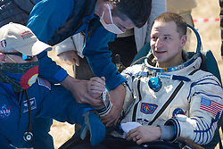 Expedition 62 astronaut Andrew Morgan is seen outside the Soyuz MS-15 spacecraft after he landed with NASA astronaut Jessica Meir and Roscosmos cosmonaut Oleg Skripochka in a remote area near the town of Zhezkazgan, Kazakhstan on Friday, April 17, 2020. Meir and Skripochka returned after 205 days in space, and Morgan after 272 days in space. All three served as Expedition 60-61-62 crew members onboard the International Space Station.<br /> <br /> Where: Zhezkazgan, Kazakhstan<br /> When: 17 Apr 2020<br /> Credit: NASA/GCTC/Andrey Shelepin/Cover Images<br /> <br /> **Editorial use only**
