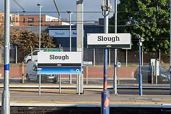 © Licensed to London News Pictures. 23/10/2020. Slough, UK. Signs at Slough Train statin. Slough will move to Local COVID Alert Level: High (Tier 2) at 00:01 BST on Saturday 24th October 2020 after an increase in people infected with the COVID-19 coronavirus. Photo credit: Peter Manning/LNP