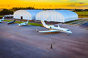 Early morning Gulfstream departure from Fontainebleau Aviation at Opa-locka Executive Airport.  Commissioned as advertising for Phillips 66 Aviation Fuels.<br />