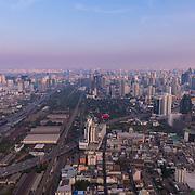 Bangkok Downtown aerial view near the Baiyoke Tower at dusk