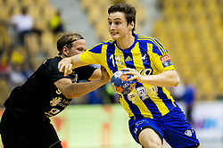 Matic Groselj of Celje vs Janez Gams of Gorenje during handball match between RK Celje Pivovarna Lasko and RK Gorenje Velenje in Last Round of 1. Liga NLB 2016/17, on June 2, 2017 in Arena Zlatorog, Celje, Slovenia. Photo by Vid Ponikvar / Sportida