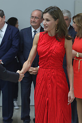 July 24, 2017 - July 24, 2017 (Málaga) Queen Letizia repeats a dress by Nina Ricci in red, her favorite color. The queen has opted for a draped design that already showed in a meeting with Michelle Obama in June 2016 in La Zarzuela. To bet on his favorite color, red passion, in addition, a wink also for the Instituto Cervantes to be his corporate tone. For his visit this morning to Malaga where the monarch has inaugurated the meeting of the directors of the institution in the Russian Museum in the old Tabacalera (Credit Image: © Fotos Lorenzo Carnero via ZUMA Wire)