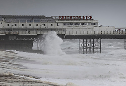 © Licensed to London News Pictures. 30/07/2021. Brighton, UK. Waves hit Brighton pier in windy conditions. Parts of the south are feeling the effects of Storm Evert, the first named storm of summer 2021. Photo credit: Peter Macdiarmid/LNP