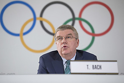 LAUSANNE, May 4, 2018  International Olympic Committee (IOC) President Thomas Bach speaks at a press conference after the IOC executive board meeting in Lausanne, Switzerland, May 3, 2018. (Credit Image: © Xu Jinquan/Xinhua via ZUMA Wire)