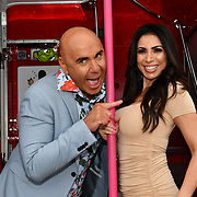Simon Gross and Francine Lewis attend Celeb Bri Tea, on board the BB Bakery bus on 22 March 2019, London, UK.