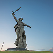 CAPTION: The Motherland Calls, once the largest free-standing sculpture in the world, towers over Volgograd. It was built to commemorate the Battle of Stalingrad, a turning point in the Second World War. LOCATION: The Motherland Calls, Mamayev Kurgan, Volgograd, Russia. INDIVIDUAL(S) PHOTOGRAPHED: N/A.