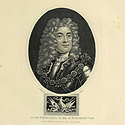 John Churchill, Duke of Marlborough [General John Churchill, 1st Duke of Marlborough, 1st Prince of Mindelheim, 1st Count of Nellenburg, Prince of the Holy Roman Empire, KG, PC (26 May 1650 – 16 June 1722 O.S.[a]) was an English soldier and statesman whose career spanned the reigns of five monarchs. From a gentry family, he served first as a page at the court of the House of Stuart under James, Duke of York, through the 1670s and early 1680s, earning military and political advancement through his courage and diplomatic skill]. Copperplate engraving From the Encyclopaedia Londinensis or, Universal dictionary of arts, sciences, and literature; Volume IV;  Edited by Wilkes, John. Published in London in 1810