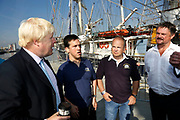 London, UK. Monday 8th September 2014. London Mayor Boris Johnson meeting with crew members during a visit to Royal Greenwich Tall Ships Festival which is organized by RB Greenwich. The Festival is included as a highlight of Totally Thames, the new month-long promotion of river and riverside events delivered by Thames Festival Trust.