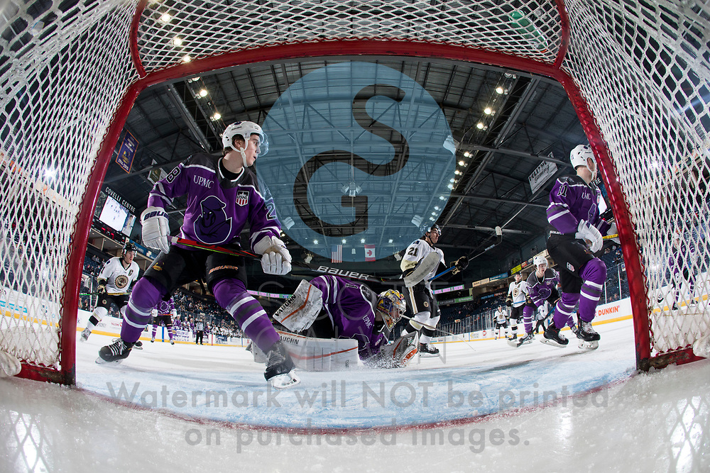 Youngstown Phantoms lose 3-2 in a shootout to the Muskegon Lumberjacks at the Covelli Centre on February 27, 2021.<br /> <br /> Dylan Gratton, defenseman, 28; Georgii Merkulov, forward, 11; Colin Purcell, goalie, 1