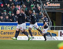 Falkirk's Craig Sibbald celebrates after scoring their goal. Falkirk 1 v 2 Hibernian, Scottish Championship game played 31/12/2016 at The Falkirk Stadium .