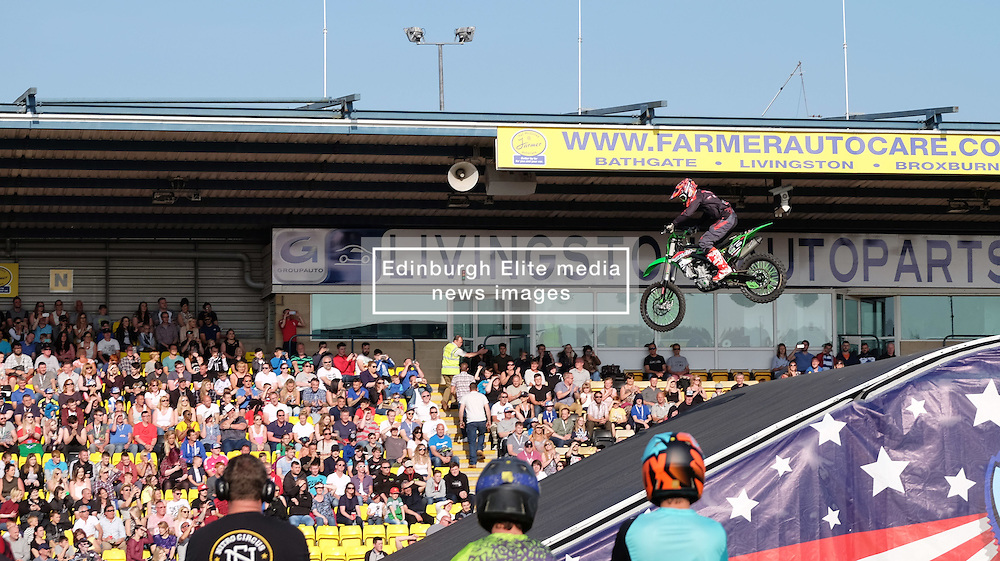 Nitro Circus Live, Livingston, Saturday 4th June 2016<br /> <br /> Tricks were performed on motorcycles<br /> <br /> (c) Alex Todd | Edinburgh Elite media