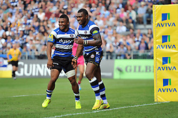Semesa Rokoduguni of Bath Rugby celebrates his try with Kyle Eastmond - Photo mandatory by-line: Patrick Khachfe/JMP - Mobile: 07966 386802 13/09/2014 - SPORT - RUGBY UNION - Bath - The Recreation Ground - Bath Rugby v London Welsh - Aviva Premiership