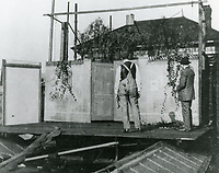 """1909 Building sets at Selig Polygraph's studio for the filming """"Carmen"""""""