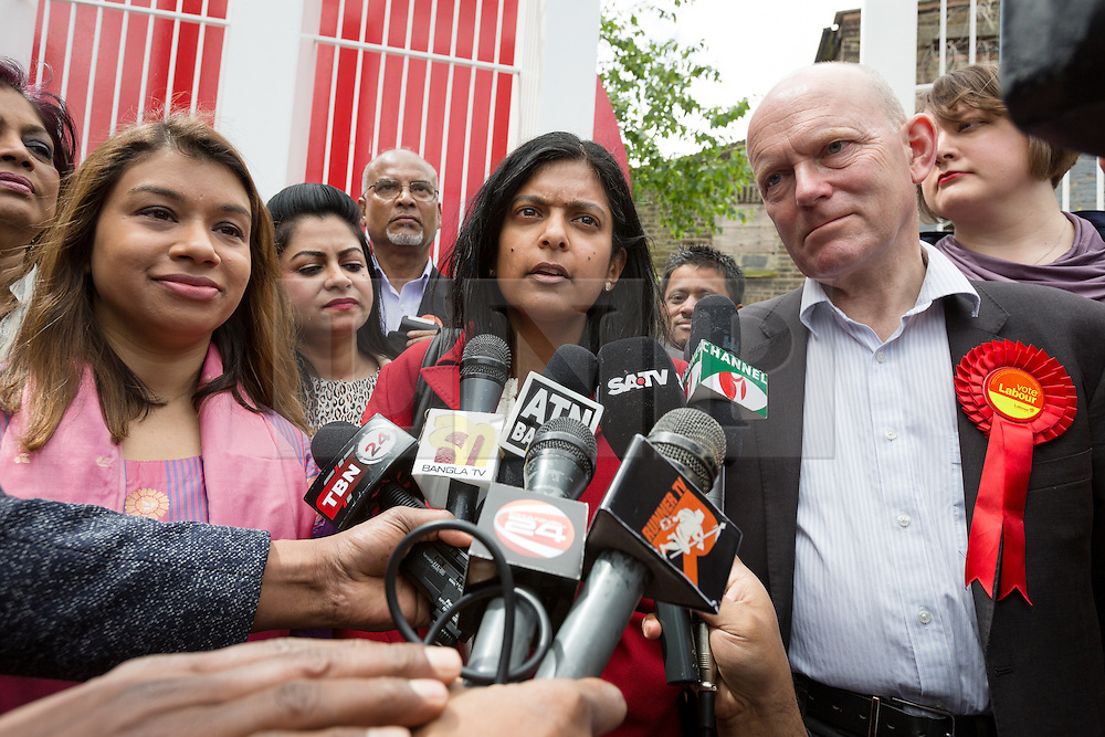 © Licensed to London News Pictures. 06/06/2015. London, UK. Rupa Huq with Tulip Siddiq (left) and John Biggs speak to the Bengali media at a Labour Party rally for Tower Hamlets Mayoral candidate, John Biggs in Altab Ali Park in Tower Hamlets, east London. The three women Bangladeshi London Labour MPs (Rushanara Ali, Tulip Siddiq and Rupa Huq) attended the rally today with Labour Party supporters. Photo credit : Vickie Flores/LNP