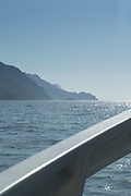 Sea and coastline from motorboat, Golf of Porto, Corsica, France