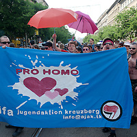 Participants of the Gay Pride Parade marched across the city under heavy security and police protection against far-right anti-protestors in Budapest, Hungary on June 18, 2011. ATTILA VOLGYI