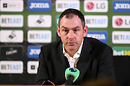 Paul Clement, the Swansea city manager talks to the media during his post match press conference. Premier league match, Swansea city v Southampton at the Liberty Stadium in Swansea, South Wales on Tuesday 31st January 2017.<br /> pic by  Andrew Orchard, Andrew Orchard sports photography.