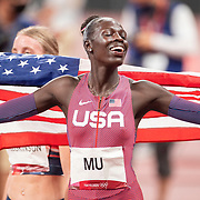 TOKYO, JAPAN August 3:  Gold medal winner Athing Mu of the United States celebrates after the Women's 800m Final at the Olympic Stadium during the Tokyo 2020 Summer Olympic Games on August 3rd, 2021 in Tokyo, Japan. (Photo by Tim Clayton/Corbis via Getty Images)
