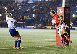 Jasmine Joyce of Wales Women celebrates scoring her sides first try<br /> <br /> Photographer Simon King/Replay Images<br /> <br /> Friendly - Wales Women v Hong Kong Women - Friday  16th November 2018 - Cardiff Arms Park - Cardiff<br /> <br /> World Copyright © Replay Images . All rights reserved. info@replayimages.co.uk - http://replayimages.co.uk