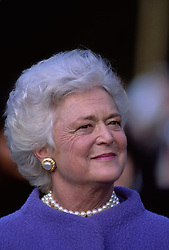 April 16, 2018 - (File Photo) - Former first lady Barbara Bush was reported in failing health and has decided not to seek further medical treatment, a family spokesman says. PICTURED: 1990. - File - First Lady BARBARA BUSH, is wearing her trademark pearl necklace. (Credit Image: © Mark Reinstein via ZUMA Wire)