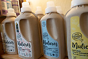 Mulieres washing liquid in biodergradable packaging in Ledbury, Herefordshire, United Kingdom.