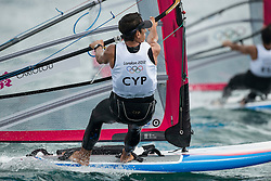 31.07.2012, Bucht von Weymouth, GBR, Olympia 2012, Windsurfen, im Bild RS:X Men, Cariolou Andreas (CYP) . EXPA Pictures © 2012, PhotoCredit: EXPA/ Juerg Kaufmann ***** ATTENTION for AUT, CRO, GER, FIN, NOR, NED, POL, SLO and SWE ONLY!