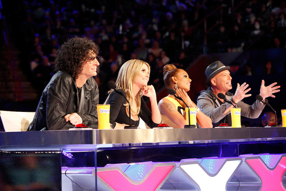 """Judges for season eight of the NBC's """"America's Got Talent,"""" from left, Howard Stern, Heidi Klum, Mel B, and Howie Mandel during auditions in New Orleans."""