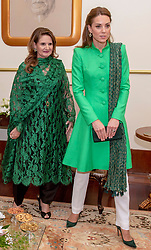 The Duchess of Cambridge with first lady Samina Alvi during an official meeting with the President of Pakistan Arif Alvi at the Presidential Palace in Islamabad during the second day of the royal visit.
