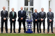 (L to R) Conor O'Shea, the Italy head coach, Joe Schmidt, the Ireland head coach, Vern Cotter, the Scotland head coach, Eddie Jones, the England Head Coach, Guy Noves, the France head coach and Rob Howley, the Wales head coach all pose with the Six Nations 2017 Trophy. RBS Six Nations 2017 media launch at the Hurlingham Club, Ranelagh Gardens in London on Wednesday 25th January 2017.<br /> pic by John Patrick Fletcher, Andrew Orchard sports photography.