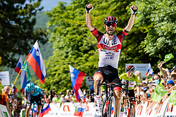 Diego ULISSI of UAE TEAM EMIRATES celebrate victory during the 4th Stage of 27th Tour of Slovenia 2021 cycling race between Ajdovscina and Nova Gorica (164,1 km), on June 12, 2021 in Slovenia. Photo by Matic Klansek Velej / Sportida