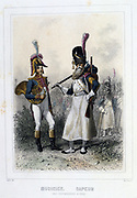 Bandsman and Saper of the Foot Grenadiers.  From 'Napoleon 1er et la Garde Imperiale' by Eugene Fieffe, Paris, 1858.