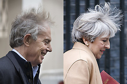 April 26, 2017 - London, London, UK - London, UK. Former Prime Minister TONY BLAIR (left) and current Prime Minister THERESA MAY (right) seen with windswept hair as they leave their respective offices in central London and Downing Street, on 26 April 2017. (Credit Image: © Tolga Akmen/London News Pictures via ZUMA Wire)