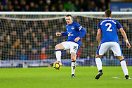 Wayne Rooney of Everton (c) controls the ball. Premier league match, Everton v Manchester Utd at Goodison Park in Liverpool, Merseyside on New Years Day, Monday 1st January 2018.<br /> pic by Chris Stading, Andrew Orchard sports photography.