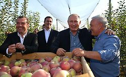 October 9, 2018 - Stavropol Territory, Russia - October 9, 2018. - Russia, Stavropol Territory. - Russian President Vladimir Putin and Prime Minister Dmitry Medvedev visit apple orchards at the Rassvet agricultural company in the Stavropol Territory. 2nd left: Russian Minister of Agriculture Dmitry Patrushev. (Credit Image: © Russian Look via ZUMA Wire)