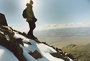 Mongolia is a trekker's paradise, with virtually unlimited possibilities of remote treks. Camping is available anywhere as land-ownership is impossible in Mongolia. This trekker stands on top of Mount Tsast Uul, at 4150m, the highest peak in Western mongolia.