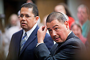 22 FEBRUARY 2011 - PHOENIX, AZ: State Senators Richard Miranda (LEFT) and Steve Gallardo at the State Capitol in Phoenix Tuesday. Hundreds of people including supporters of immigrants' rights, supporters of border defense, motorcycle riders and members of the Tea Party, converged on the capitol to express their views on bills.      PHOTO BY JACK KURTZ
