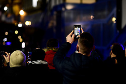 Chelsea fans film their team on their phones as they arrive at Stamford Bridge prior to kick off  - Mandatory by-line: Ryan Hiscott/JMP - 10/12/2019 - FOOTBALL - Stamford Bridge - London, England - Chelsea v Lille - UEFA Champions League group stage
