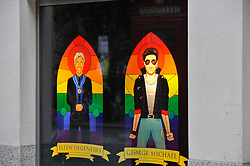 © Licensed to London News Pictures. 07/07/2017. London, UK. Images of (L to R) comedienne Ellen Degeneres and singer George Michael, are unveiled by Mr President, a Soho advertising agency, as a tribute to modern icons of tolerance and acceptance, to support the LGBT community, ahead of the annual Pride parade tomorrow.   Photo credit : Stephen Chung/LNP