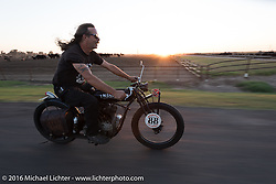 Doug Wothke of Alabama, an experienced long distance rider who has ridden a 1948 Indian Chief around the world as well as a 1962 Panhead chopper around the world, in Dodge City, KS riding his 1916 Indian during the Motorcycle Cannonball Race of the Century. Rest day in Dodge City, KS. USA. Sunday September 18, 2016. Photography ©2016 Michael Lichter.