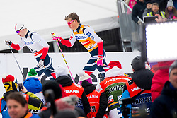 March 7, 2018 - Drammen, NORWAY - 180307 Fredrik Riseth and Johannes HÂ¿sflot Kl¾bo of Norway compete in the men's sprint classic technique quarterfinal during the FIS Cross-Country World Cup on March 07, 2018 in Drammen. .Photo: Fredrik Varfjell / BILDBYRN / kod FV / 150077 (Credit Image: © Fredrik Varfjell/Bildbyran via ZUMA Press)