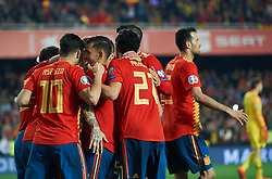 March 23, 2019 - Valencia, Valencia, Spain - Spain national team celebrates the goal of Sergio Ramos during the European Qualifying round Group F match between Spain and Norway at Estadio de Mestalla, on March 23 2019 in Valencia, Spain  (Credit Image: © Maria Jose Segovia/NurPhoto via ZUMA Press)